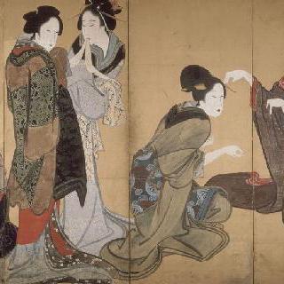 여덟 폭 병풍 : 여우 놀이를 하고 있는 아홉 여자