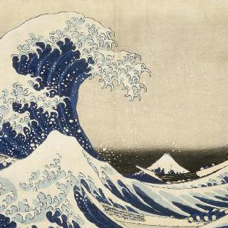카나가와 해안에 몰아치는 거대한 파도 아래에서