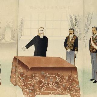 시모노세키에서 리홍장이 참여한 평화 협정 (세폭 그림)