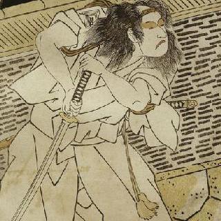 밤에 검을 들고 있는 사무라이