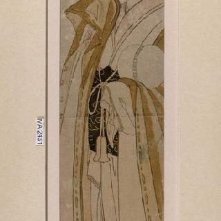 축 늘어진 버드나무 아래에서 공을 들고 있는 여자