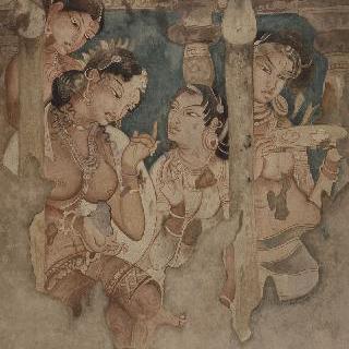 정자 아래에서 세 시녀들에 둘러싸여 있는 공주