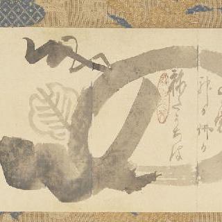 자신의 징표들로 나타난 포대 (웃고 있는 부처) (주머니, 지팡이, 부채)
