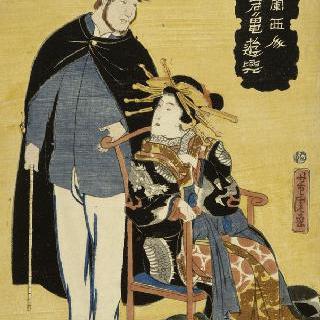 노란 배경 위의 프랑스 남자와 일본 여자