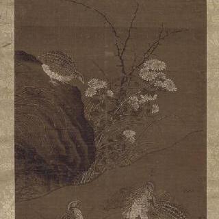메추라기들의 봄꽃 속으로의 비상