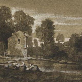 웅덩이와 빨래하는 여자들이 있는 프랑스 풍경