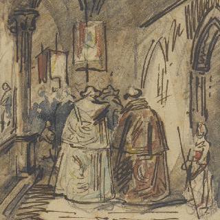 수도원 경내의 예배 행렬