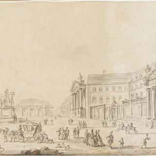 디종의 루이 르 그랑 (루이 14세)의 동상과 왕궁