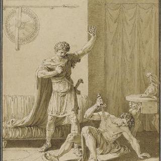 패배 후에 프레네스트 성벽 아래에서 자살하는 젊은 모리우스