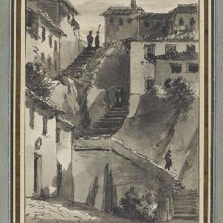 이탈리아의 작은 도시의 계단이 있는 거리