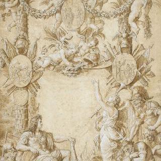 루이 14세의 초상과 우의적인 표제