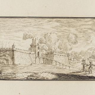 두 전사가 있는 요새의 전경
