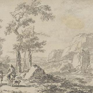 노새 부리는 사람이 있는 바위가 있는 풍경