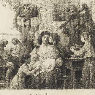세 아이들에 둘러싸여 앉아 있는 여인과 주위의 여러 인물들