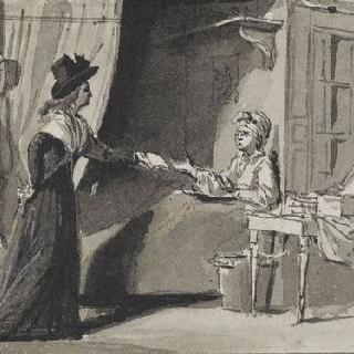 마라에게 편지를 보여주는 샤를로트 코르데이 (1793년 7월 13일)