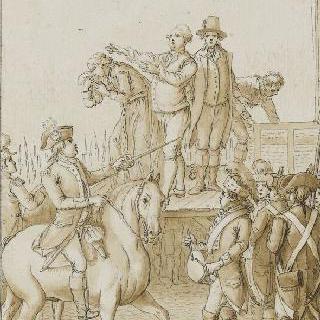 1793년 1월 21일 단두대 위에서 국민들에게 이야기하려는 루이 16세