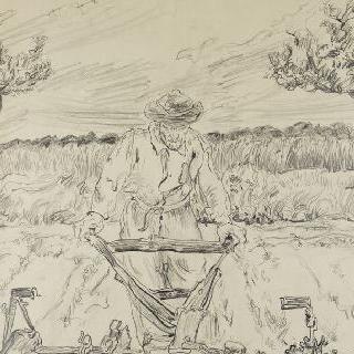 쇠스랑질하는 농부