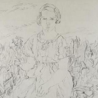 손에 꽃을 든 어린 소녀