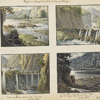 둑과 댐이 있는 풍경의 네 개의 전경