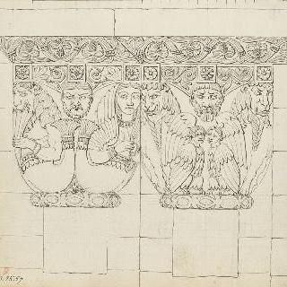 툴루즈 성당의 기둥머리 두 개의 도면