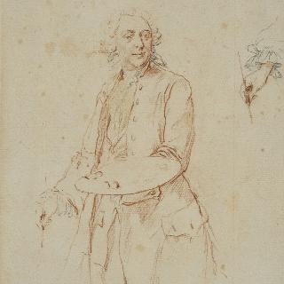 부쉐르의 초상, 붓을 든 손의 오른쪽 모습의 습작