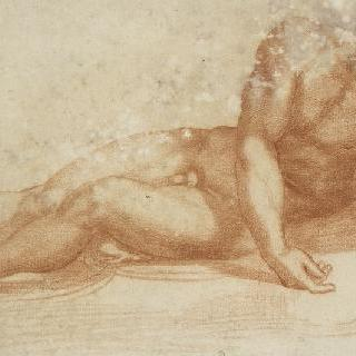 두 팔을 앞으로 늘어뜨린 채 누워있는 벌거벗은 남자의 정면상 : 죽은 그리스도