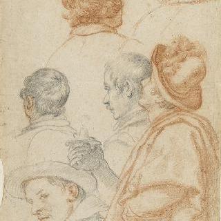 서 있는 한 남자와 측면과 뒷모습의 남자들의 다섯 두상