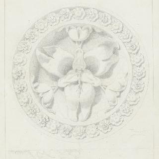 테라코타로 된 장식 꽃 모양 원형 장식