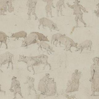 습작 종이 : 남자들과 동물들