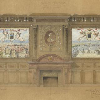 파리 법원. 프랑스 최고 재판소 법정. 벽난로 쪽 단면도