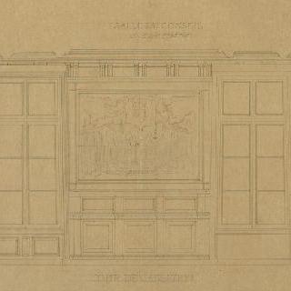 파리 법원. 프랑스 최고 재판소 법정. 창문 쪽 단면도
