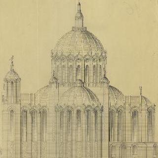 랭스의 성 클로틸드 대성당 : 중앙 정면, 입면도