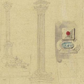 로마의 성 마리 마제르 앞의 기둥, 2개의 전경과 도면