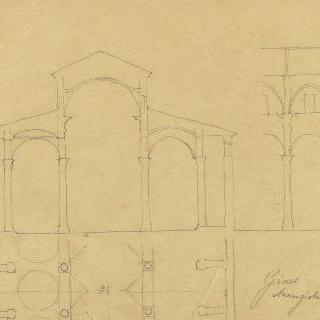 제노바의 수태고지 성당, 절단면, 도면과 중앙 홀의 입면도