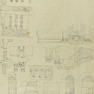 이집트 사원의 도면, 입면도와 전경, 기둥머리의 세부 묘사