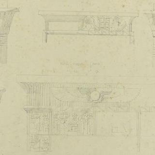 바새필래의 사원, 이집트 성문의 상인방과 기둥머리