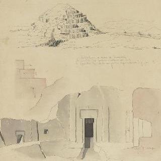 이탈리아 몬테 로마노와 코르네토 사이의 에트루리아의 무덤, 도면, 절단면과 입면도