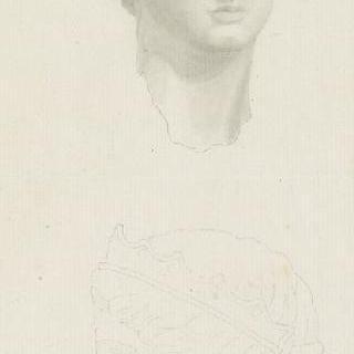 폼페이의 동상의 두상, 앞모습과 옆모습