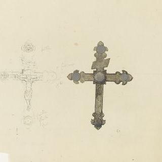 그리스도가 달려 있는 하나의 십자가와 다른 십자가