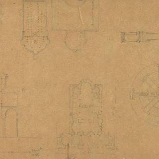 도면, 절단면과 다양한 성당들의 세부 묘사