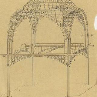 철근 골조로 된 둥근 지붕의 전경