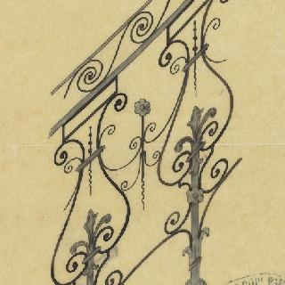 랭스 에이드시에크 부인 저택의 계단 난간 계획안