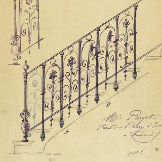랭스의 라고 저택의 계단 난간 계획안