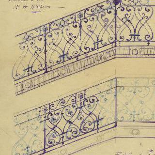 랭스의 왈봄씨 사택의 계단 난간 계획안
