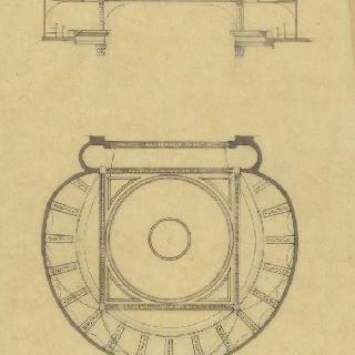 빅토르 루이가 건축한 보르도 극장, 천장화 도면과 절단면