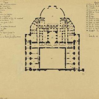 파리의 오페라 극장, 건물 뒷편의 지하 도면과 장면의 두 번째 위쪽 도면