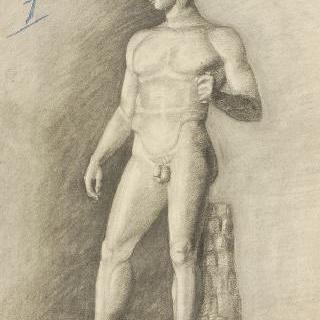 고대풍의 남자 나체 동상 4분의 3상