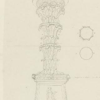 로마 바티칸 박물관, 저부조 장식 받침이 있는 촛대, 도면, 입면도