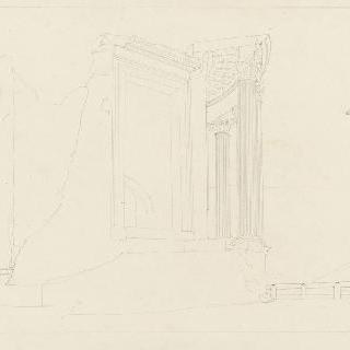 로마 반쯤 손상된 원형 기념물의 전경