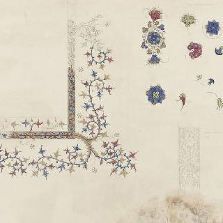 14세기와 15세기의 채색 문자 세부 묘사